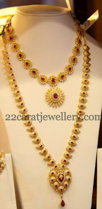 Jewellery Designs: CZ Mango Mala and Short Necklace