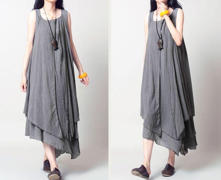 Jurken - Summer Cotton Linnen mouwloze maxi jurk - Een uniek product van camilleyuxi op DaWanda