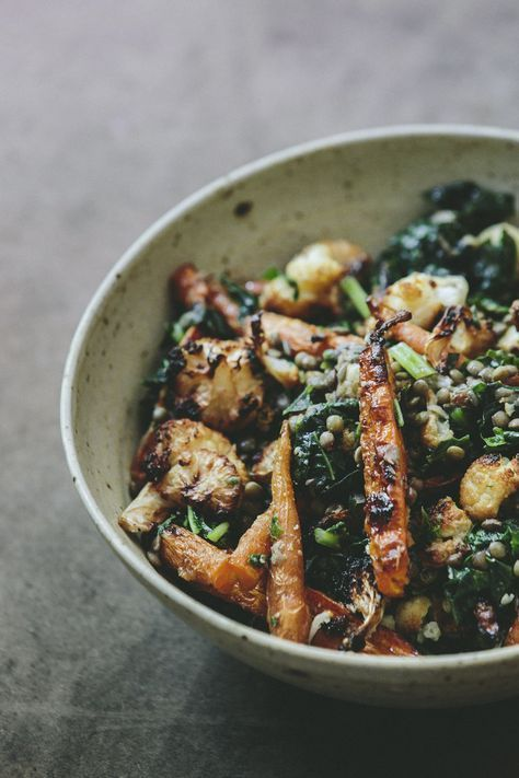 Mustard carrots, cauliflower and lentils | vegan