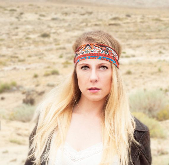 Orange Pattern Boho Headband by ForgottenCotton  Our stretchy lightweight print headbands are all pop with a splash of color and pattern. In a
