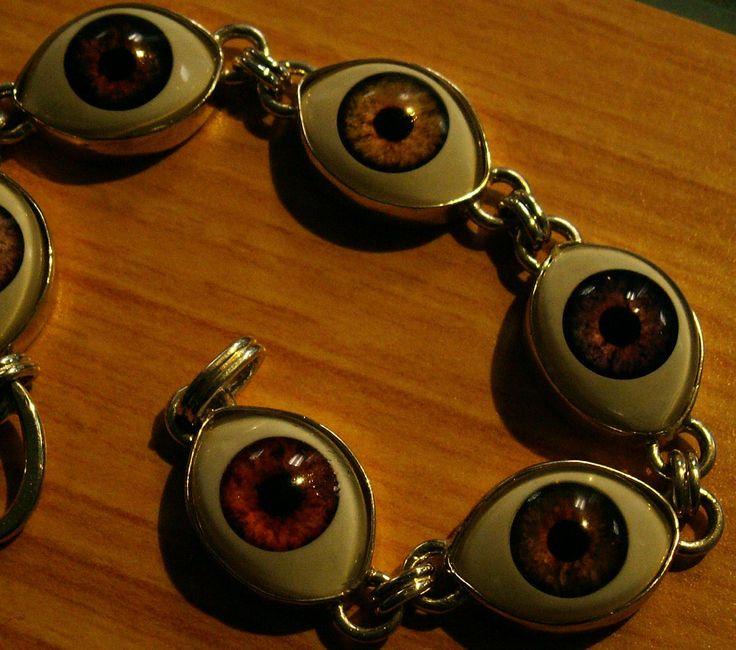 """heres looking at you "" acrylic dolls eyes, sterling silver,fabricated, constructed. bracelet"