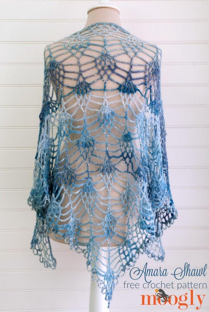 Make this stunning shawl with Lion Brand Shawl in a Ball! Amara Shawl - free one skein crochet pattern on Mooglyblog.com!