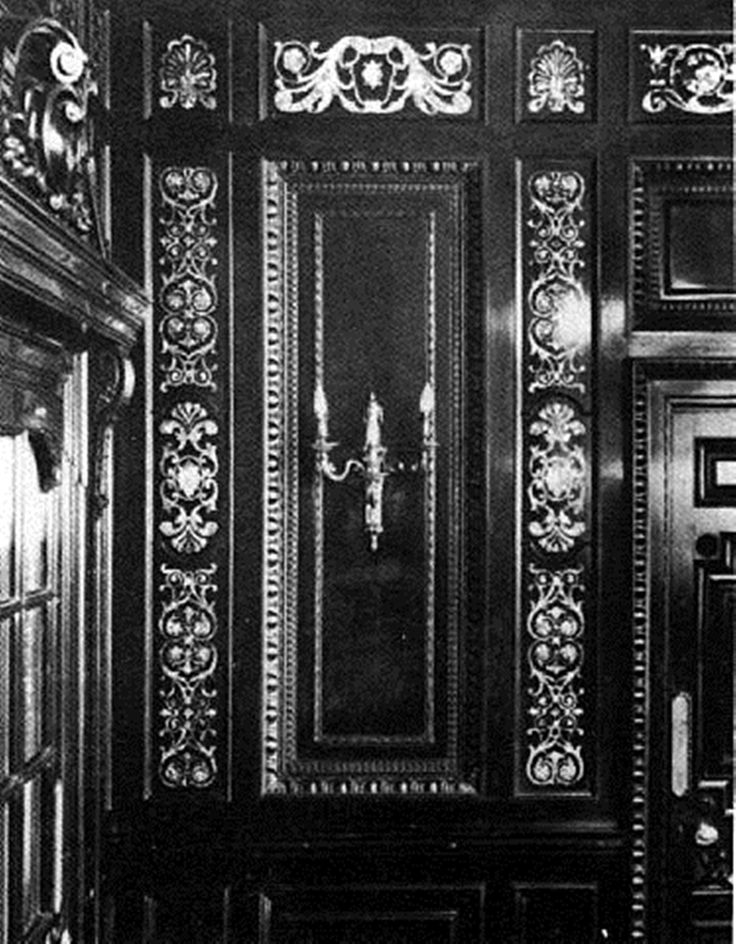 The Smoking Room on A-deck was panelled in polished mahogany intricately inlaid with mother-of-pearl.