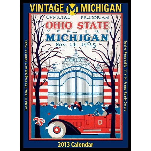 Vintage Michigan Football Wall Calendar: The 2013 Vintage Michigan Wolverines Football Calendar features archival-quality images of vintage game-day football program art from the early 1900s – 1960s.  $19.95  http://www.calendars.com/Michigan-Wolverines/Vintage-Michigan-Football-2013-Wall-Calendar/prod201300009742/?categoryId=cat00652=cat00652#