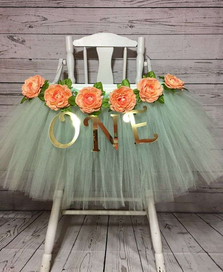 High Chair Tutu - High Chair Skirt - Mint, Peach and Gold Highchair tutu - Highchair skirt - High Chair Skirt-1st Birthday- High Chair Tutu by AvaryMaeInspirations on Etsy