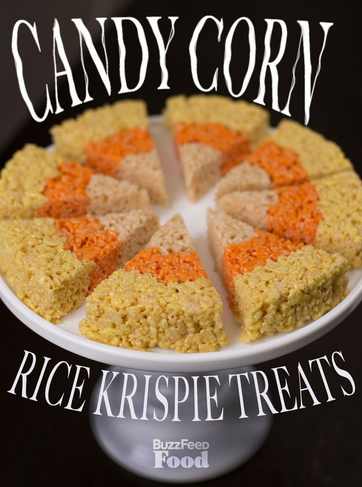 Candy Corn Rice Krispie Treats    INGREDIENTS  2 sticks butter  2 10-oz bags mini marshmallows  3/4 tsp. salt (table salt is fine here, kosher will work too)  2-3 lemons  yellow food coloring  1 12-oz. box Rice Krispie cereal   2 oranges  red food coloring