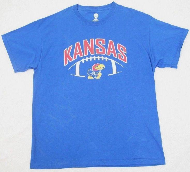 Kansas Jayhawks KU T-Shirt Blue Red White Cotton Mens XL Tee Extra Large NCAA #KAInc #GraphicTee