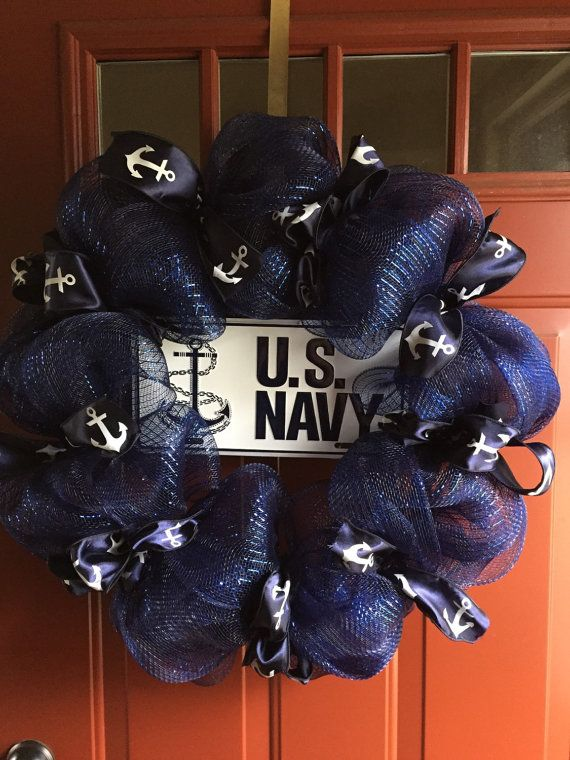 Us navy mesh wreath by BowsBurlapNMore on Etsy