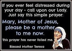 If you ever feel distressed during your day.... call upon our Lady. Just say this simple prayer: Mary, Mother of Jesus, please be a mother to me now. This prayer has never failed me. --Blessed Mother Teresa!