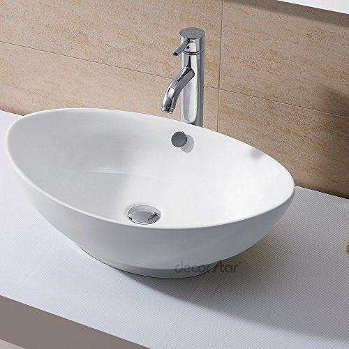 "16""x13"" Egg Shape Ceramic Bathroom Vessel Sink Basin Faucet Without Overflow"