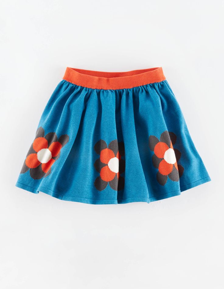 """Mini Boden Colourful Knitted Skirt. """"A new style with vibrant colours in a bold design that goes all the way around the circle of the skirt. Ultra comfortable elasticated waistband, this soft knit is swishy and warm."""" #NewBritish"""
