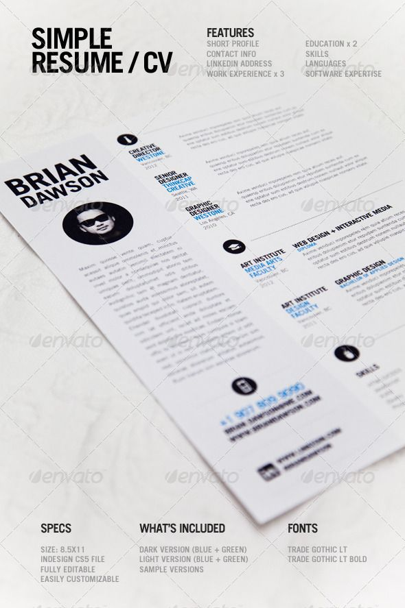 Best 13 templates cv images on pinterest curriculum resume and simple resume a simple clean resume template perfect for designers light and dark versions included with blue green options available thecheapjerseys Image collections