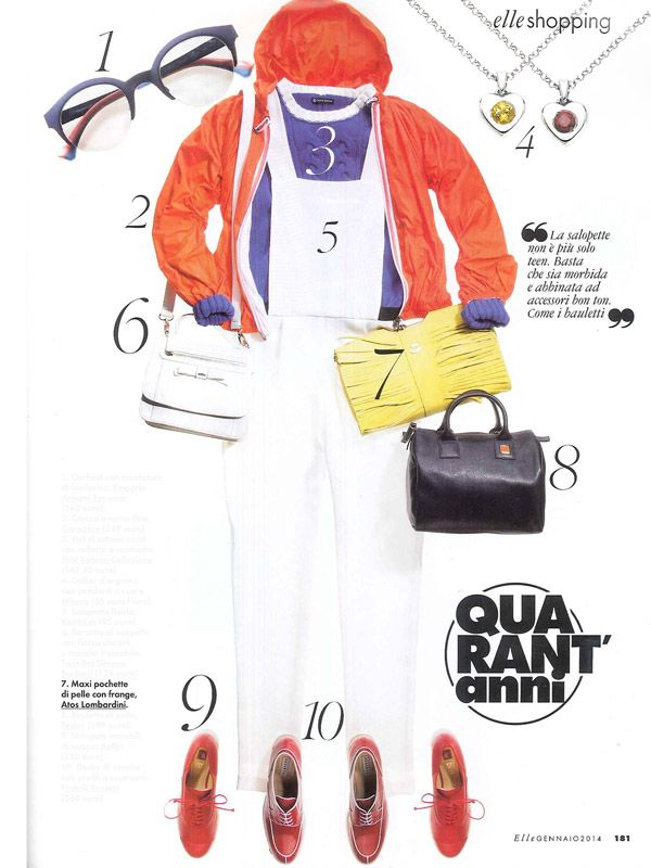 #ELLE Italia - January issue 2014 _ Pag. 181: Yellow maxi #pochette with #fringes, #leather fabric, by #AtosLombardini __ #shopping #guide #accessories #musthave
