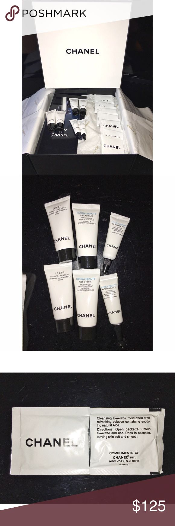 New CHANEL Skincare Bundle 🖤 Brand new chanel gift set all items are new never opened. Bundle comes with: 1 brand new mint condition gift box, 2 Bleu De Chanel cologne samples, 2 5ml Le Lift anti wrinkle serum ($60), 2 5ml Hyrda Beauty Gel Creme ($18), 2 3ml Hydra Beauty Micro Gel Yeux ($28) , and 7 rare Chanel cleansing towelettes moistened with aloe. The prices in parentheses are what chanel.com is pricing those by amount. This a great deal! Other free samples with purchase dedicated to…