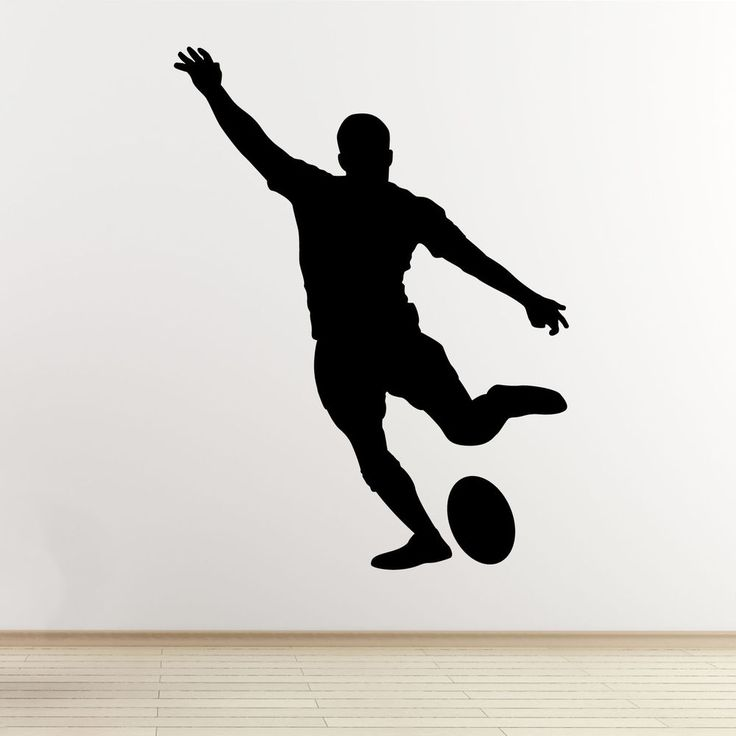Rugby Player Wall Art Sticker - Kicking Player Outline/Silhouette - Vinyl Decal in Home, Furniture & DIY, Home Decor, Wall Decals & Stickers | eBay
