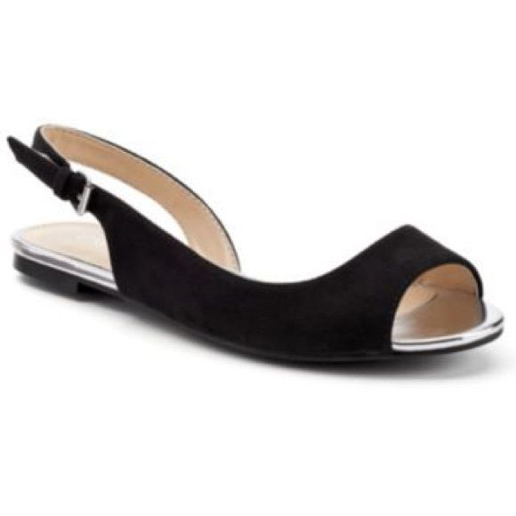 Black Peep Toe Flats Apt. 9 Sling Toe Back And Silver ...