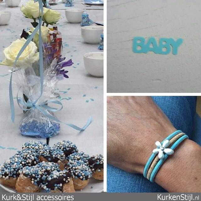 Armband van kurk in de kleur van het thema 'a touch of baby blue'