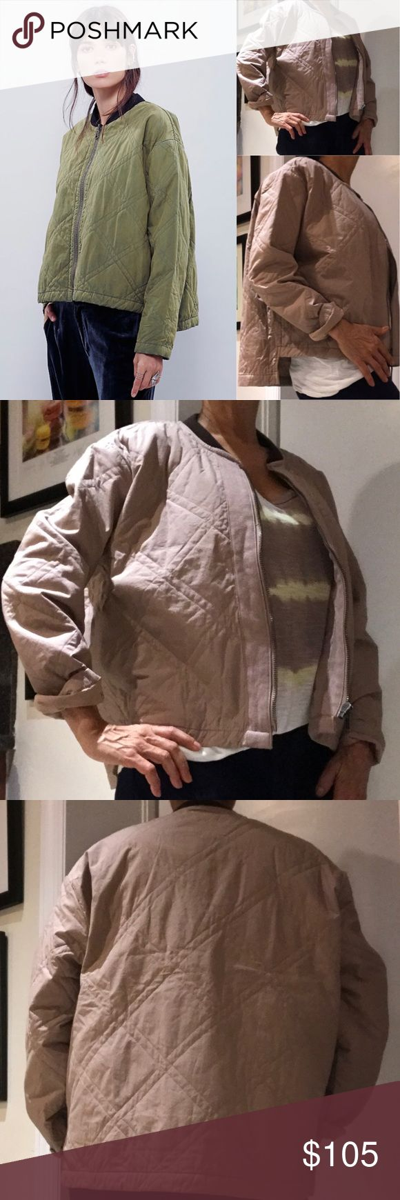 """Free People Quilted Aviator Jacket Free People Quilted Aviator Jacket Super soft quilted aviator jacket with contrast banded neckline. Full front zip and high-low hem.  Side pockets and exquisitely tailored/finished. Green from FP site, this item is khaki with brown contrasting neckline. XS but very ample fit--up to medium, see measurements below. 100% Cotton Bust: 48.0""""  Length: 21"""" front, 24"""" back Sleeve Length: 22"""" Free People Jackets & Coats"""