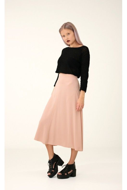 Pink Midi Skirt, S / Annaliina