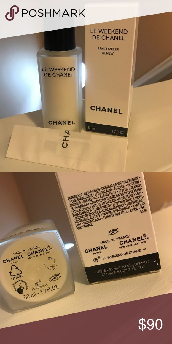 Chanel | Le Weekend De Chanel Enhances renewal and replenishes hydration to give skin a much-needed weekend break. Combined with relaxing Rose Water, a gentle Glycolic Acid Complex is gradually released for ideal exfoliation and lasting moisture. Skin is softer and more luminous for the week ahead. CHANEL Makeup