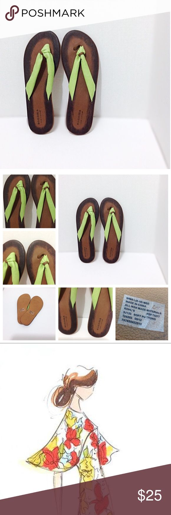 Sonoma Trendy Green Flip Flops. Chic Summer Sandal Beautiful & Feminine Sonoma Life & Style Flat Sandals! Girly boho lime green & camel brown thong / flip flop, with a semi knot detail on the strap by the toes. Super soft straps & very comfy. • These would be perfect for casual office days, cruises, vacation, summer travels, swimming pool, beach, honeymoon, girls day shopping, running errands, or any day! • NWOT Only try on at the store • Man made materials and rubber soles! • smoke & cat…