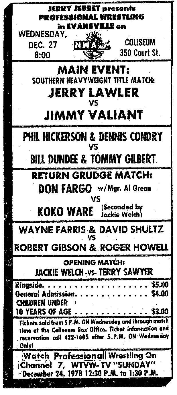 So much pileup vintage pro wrestling logos - Evansville In Coliseum 1978 12 27 Memphis