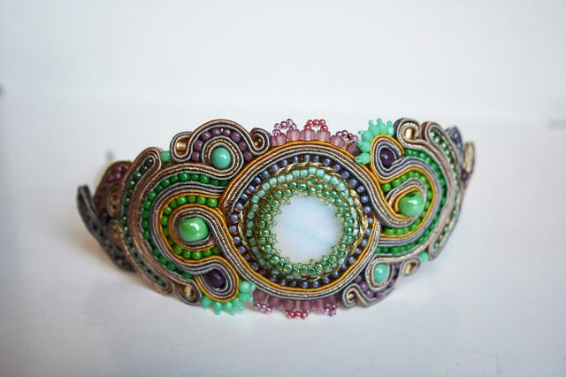 gold and pink and mint and green and all the pretty colors soutache headband :)