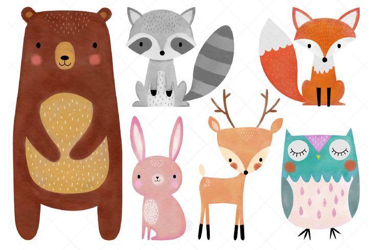 Watercolor Woodland Animals Clipart Grafico Por Clipartisan Creative Fabrica Acuarelas De Animales Animales Del Bosque Cuadros De Animales