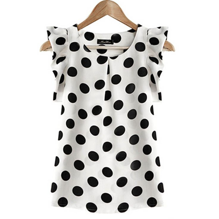 2017 New Summer Women Ladies Elegant Chiffon White Blouse Puffed Short Sleeve Black Dot Print Top Blusas