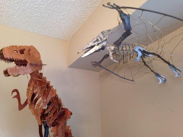 Wire Bound Sheet Metal Dinosaur Skeletons Wire Binding