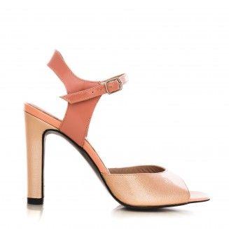 sandale dama din piele naturala 1318 lac somon