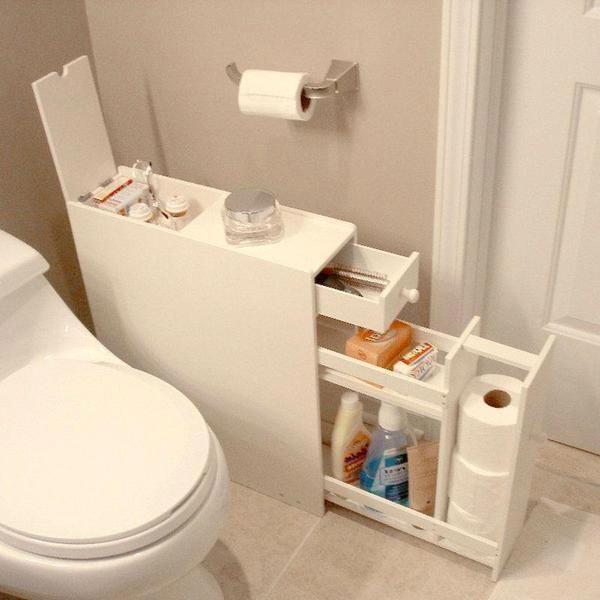Space Saving Bathroom Floor Cabinet In White Wood Finish Bathroomdecor Space Saving Bathroom Bathroom Floor Cabinets Small Bathroom Storage