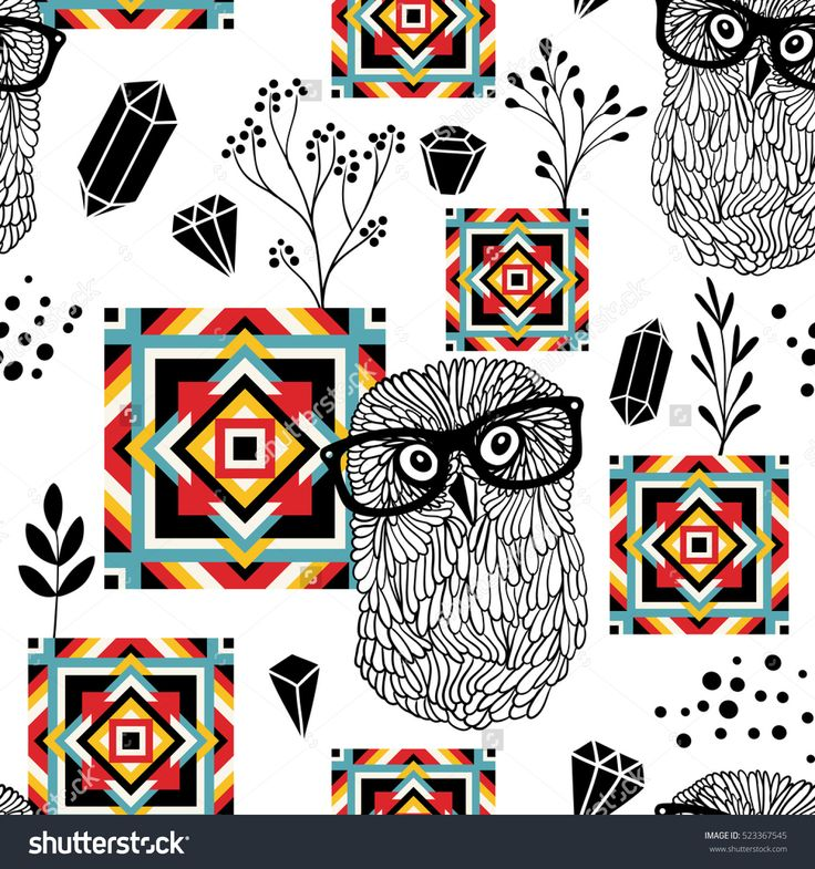Seamless pattern with carpet elements and smart owls. Vector doodle background.