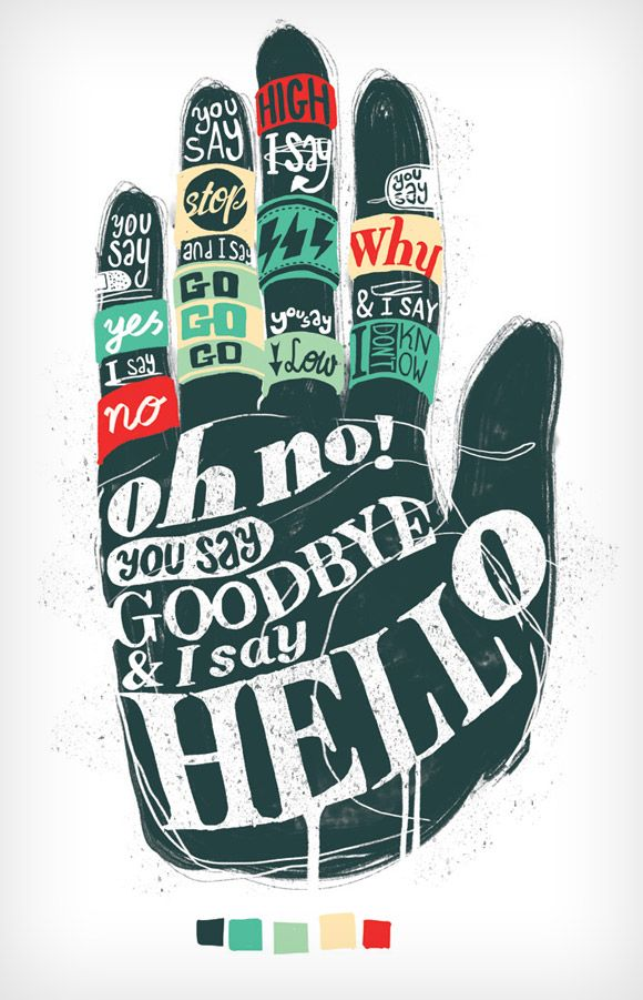Typographic T-shirt prints based on song lyrics by The beatles. At the moment the shirts are not available, but it should be printed soon by a big U.S. clothing chain.