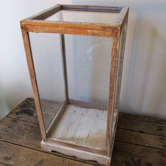Wood and glass farmhouse terrarium or observation showcase rustic cottage chic painted distressed home decor anita spero design