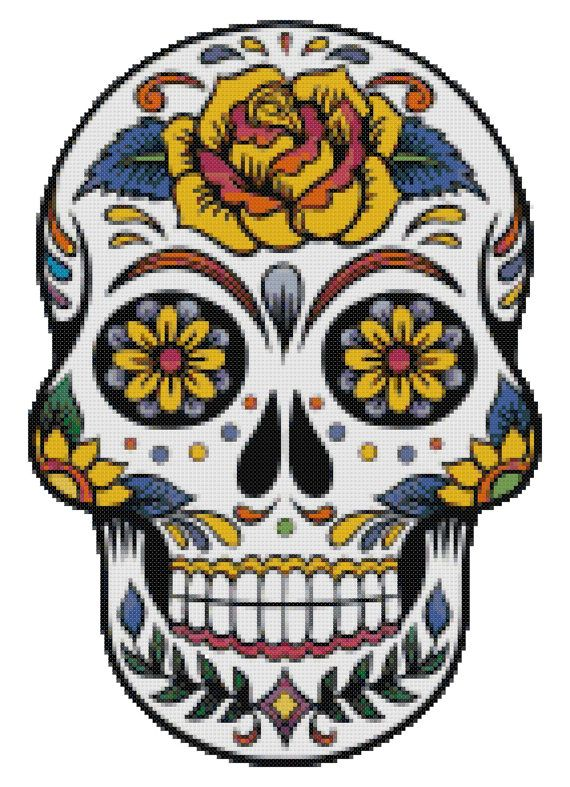 Cross Stitch Pattern SUGAR SKULL 3  Pdf File by SUNSHINEYDAY0630