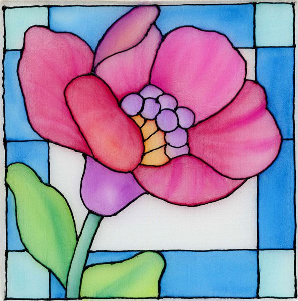 Stained+Glass+Patterns+Flowers   Fannie Narte: Stained Glass Flower on Silk Using Neocolor II