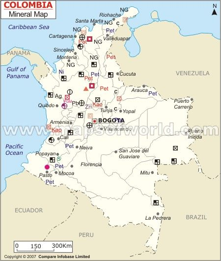 Colombia Mineral Map of Columbia south america capital Bogota