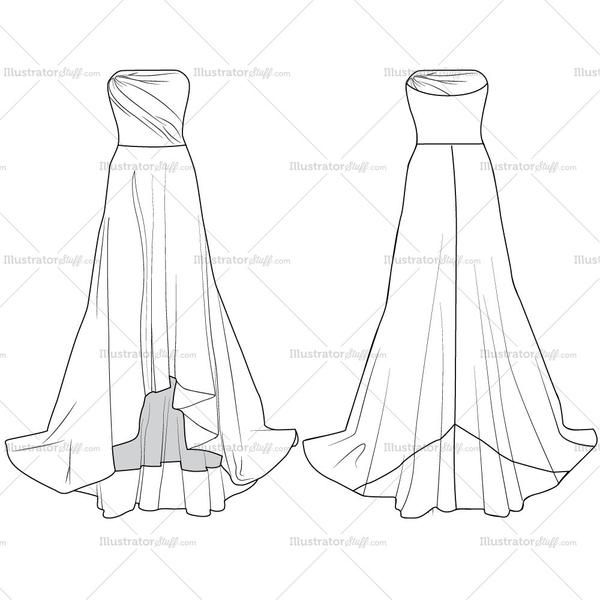 Women S Evening Gown Fashion Flat Vector Templates With Back And Front Sketches Easy To Edit Colored As Requirement