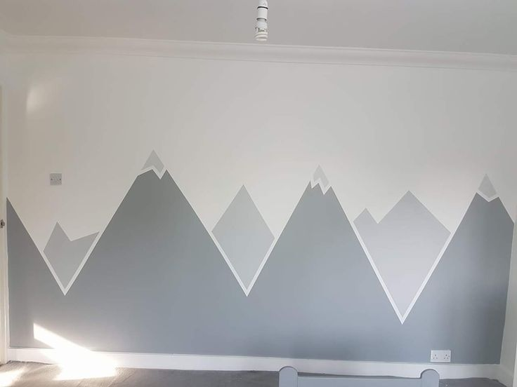 Frog tape snow capped mountain wall mural in grey and ...