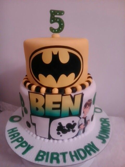 Batman and Ben10 birthday cake by Sheila's Cake Creations Essex Uk
