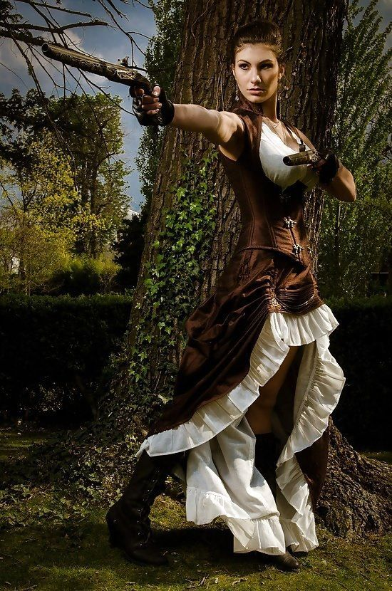 Steampunk in Brown Silk  - For costume tutorials, clothing guide, fashion inspiration photo gallery, calendar of Steampunk events, & more, visit SteampunkFashionGuide.com