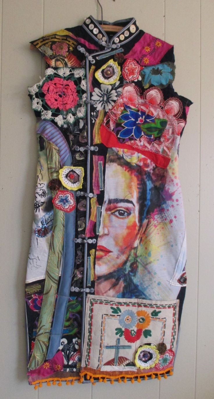 MyBonny - mandarin mexican FRIDA - altered artist Collage Clothing - Wearable…