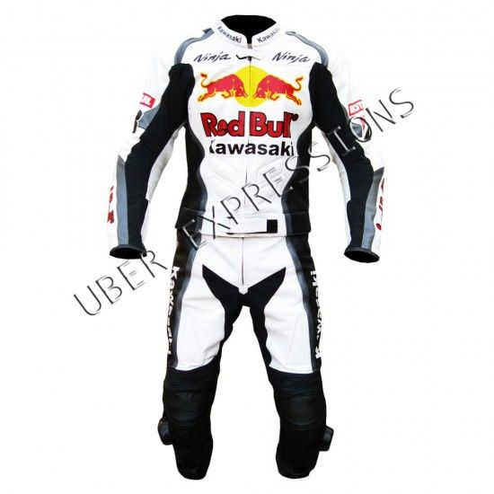 Kawasaki Ninja Redbull Two Piece Motorbike Racing Leather Suit
