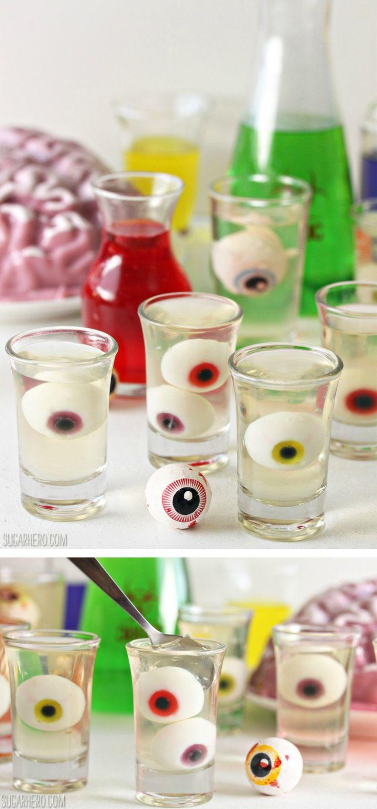 Floating Eyeball Jello Shots - easy and so cute for Halloween!  | From SugarHero.com