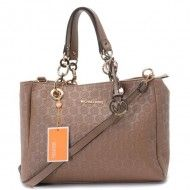 Michael Kors Jet Set Chain Logo Monogram Jacquard with Apricot Leather $79.00 http://www.newperfectstyle.com/