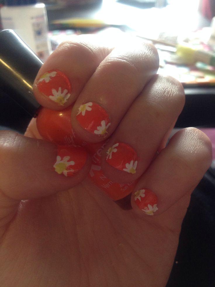 Orange summer flower nails