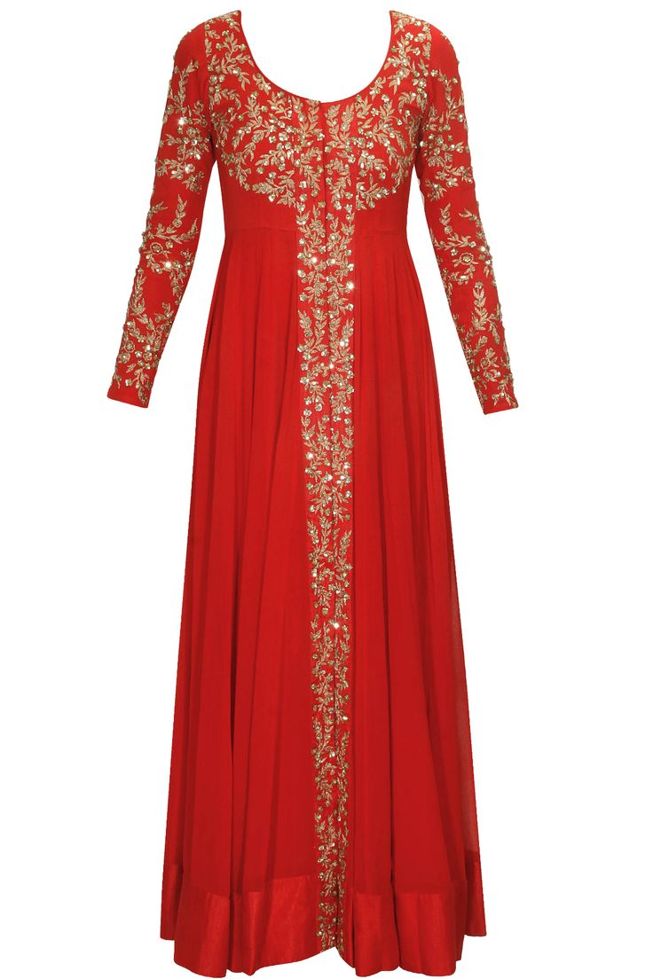 Red embellished long jacket with red inner gown available only at Pernia's