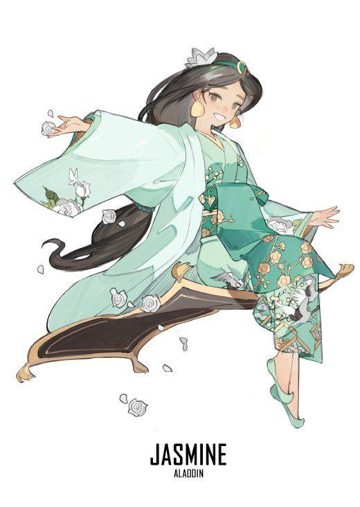 @STARshadowmagic Kimono Disney Princess Fanart - Jasmine