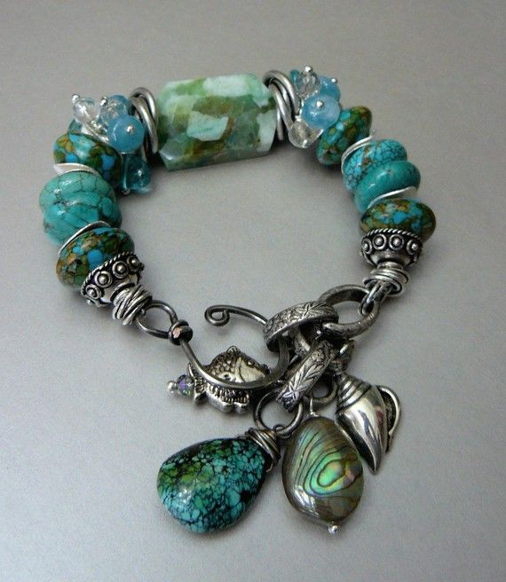 Blue Moons with Amazonite, Turquoise, Angelite, Aquamarine and Silver by pmdesigns09 on Etsy